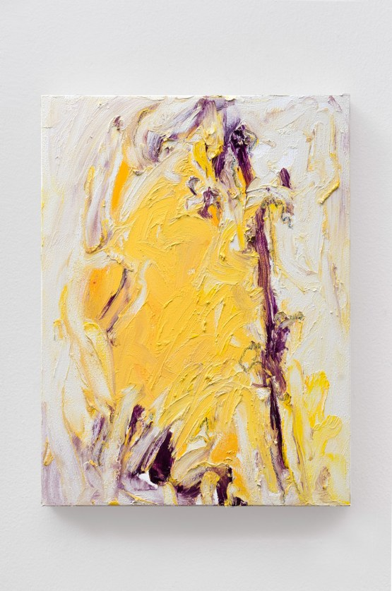"Yellow #4, oil bar & graphite on panel, 12 x 9"", 2015"
