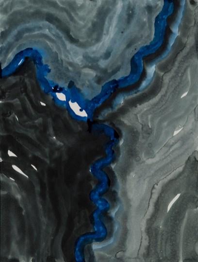 "Dark Rivers II, ink & watercolor on paper, 20 x 14"", 2013"