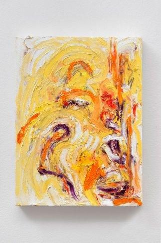 "Yellow #7, oil bar & graphite on panel, 12 x 9"", 2015"