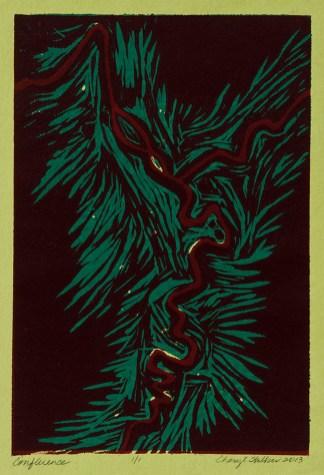 "Confluence, monoprint, 11 x 7.5"", 2013"