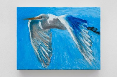 "Great Egret 3, oil bar on panel, 9x12"", 2016"