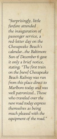 """Otto Mears Goes East: The Chesapeake Beach Railway, by Ames W. Williams, pg. 50."""