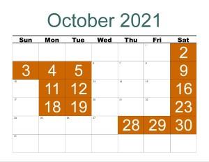 CBRM October 2021 Schedule