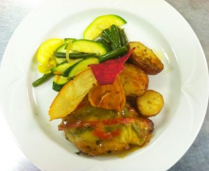 Havarti Dill Chicken with Mixed Vegetables and Roasted Potatoes topped with Veggie Chips - Chesapeake Conference Center