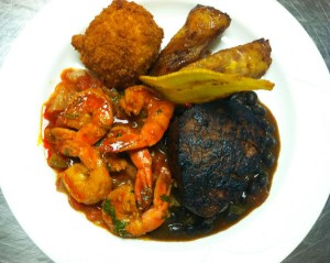 Filet Mignon with Demi-Glace, Shrimp with Jamaican Jerk Sauce, served with Plantains and Fried Mashed Potatoes - Chesapeake Conference Center