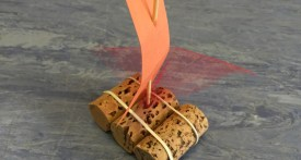 cork raft, cork boat, make a boat with toddlers, floating materials preschool