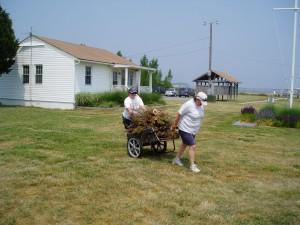 Carting away the debris