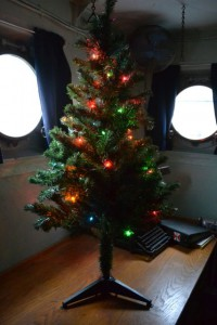 Photo by Anne Puppa Tree decorated in Captain's cabin.