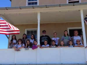 Girl Scout Troop 4948 with Pt. Lookout Keeper Raymond Hartzel. Photo courtesy Beth Hartzel