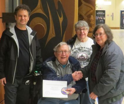 Jerry Waters receiving Platinum Volunteer Patch L-R: Jeff Gales, Jerry Waters, Marie Vincent, Anne Puppa