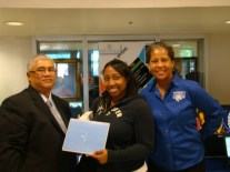 Chesnutt Library Director, Bobby Wynn, with student and Mrs. Conway