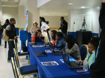 Students taking the survey in the Student Center, 2