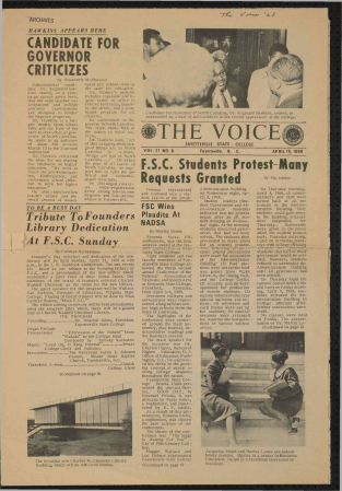 The Voice - April 19, 1968 - Founder's Day - Fayetteville State University (Page 1)