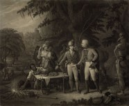 """Swamp Encampment. General Marion shares a meal of sweet potatoes prepared by his slave, Oscar Marion, with a British officer. Painting by John Blake White, Lithograph by Currier & Ives, 1876."""