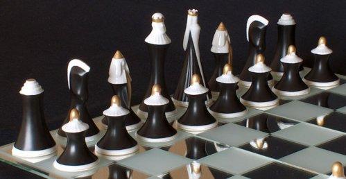 Bohemian Royal Dux Chess Set