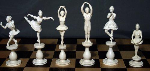 Mammoth Ivory Ballerina Figural Chessmen