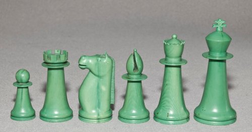 Antique Indian Staunton Chess Set, Green
