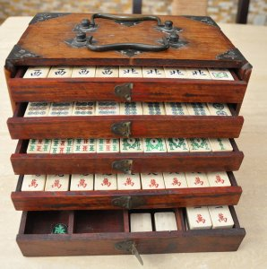 Cased Mahjong Set with Drawers