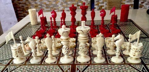 Ivory Burmese Antique Chess Set