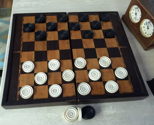"""Large Antique Ivory Backgammon Checkers, 1-7/8"""" x 3/8"""""""