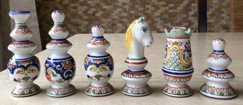 French Faience Antique Chess Set