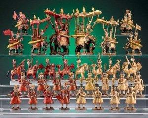 Antique Rajasthan Polychrome Ivory Chess Set