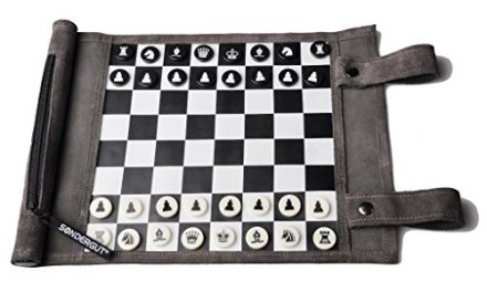 Pitkin Stearns International, Inc. Genuine Leather Roll-Up Travel Game – Chess/Checkers
