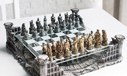 16.25″ Roman Gladiators 3D Chess Set, Bronze & Silver Color