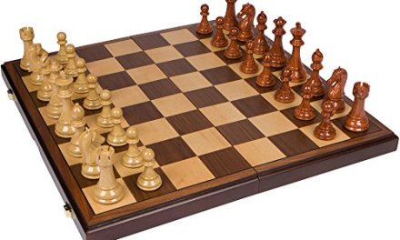 Abigail Chess Inlaid Wood Folding Board Game with Pieces – 21 Inch Set