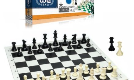 Best Value Tournament Chess Set – Filled Chess Pieces and Black Roll-Up Vinyl Chess Board