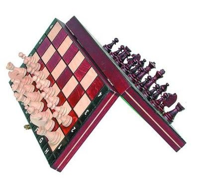 Travel Magnetic Chess Set w/ Wooden 10.4″ Board and Chessmen