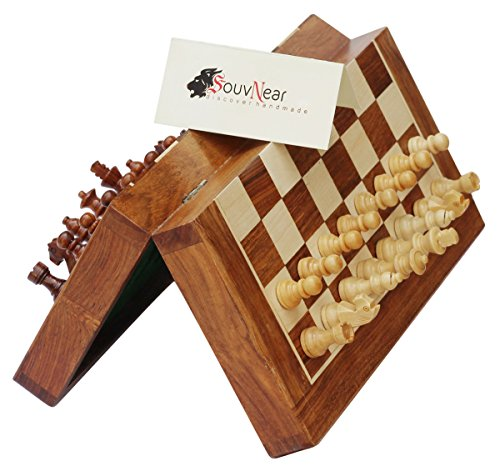 PREMIUM Folding 12.5×12.5″ Chess Set with Bag – SouvNear Magnetic Chess Game – 2 EXTRA QUEENS, Folding Board – BEST Rosewood Staunton Chess Set with Storage – New Year Deals