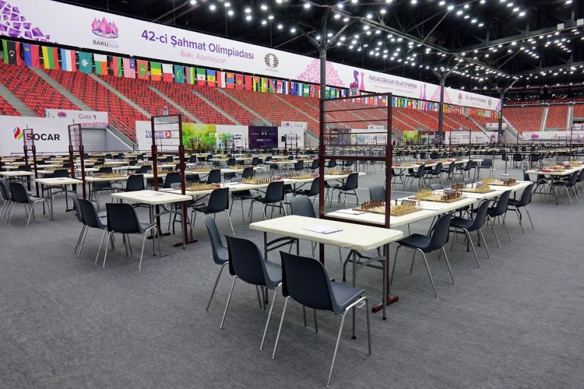 The Baku 2016 Chess Olympiad playing hall. Photo courtesy of Chess Daily News.