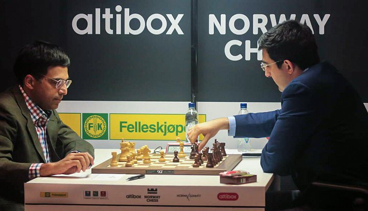 Kramnik beats Anand in Round 2 Norway Chess 2017