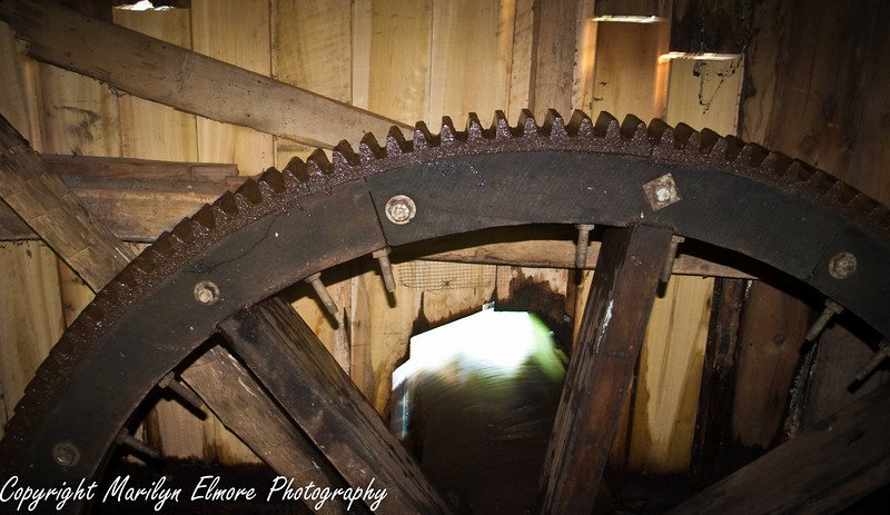 LARGE WHEEL GEAR...CONNECTS TO MORE GEARS...TURNING GRINDING STONE