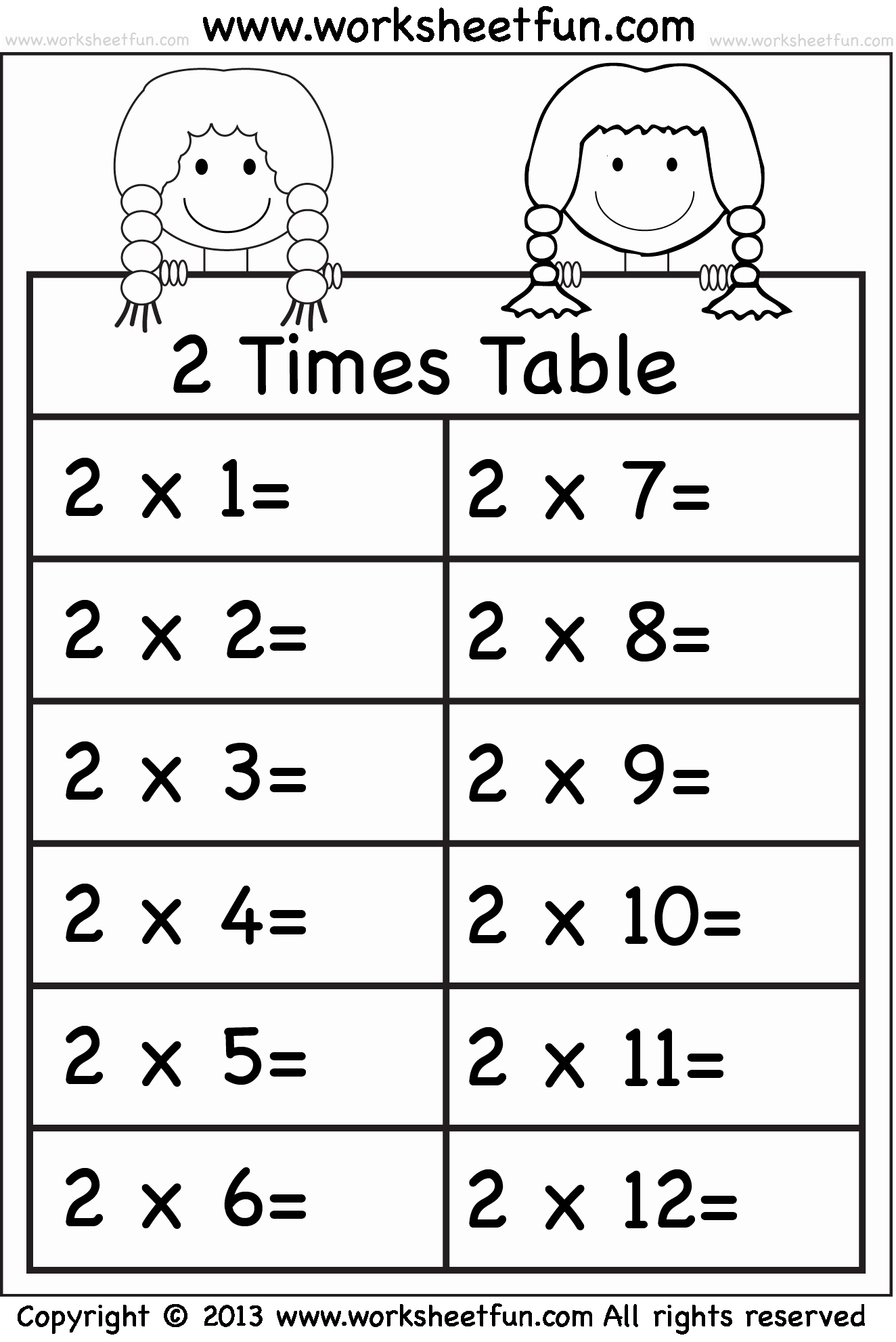 50 2 Times Table Worksheet