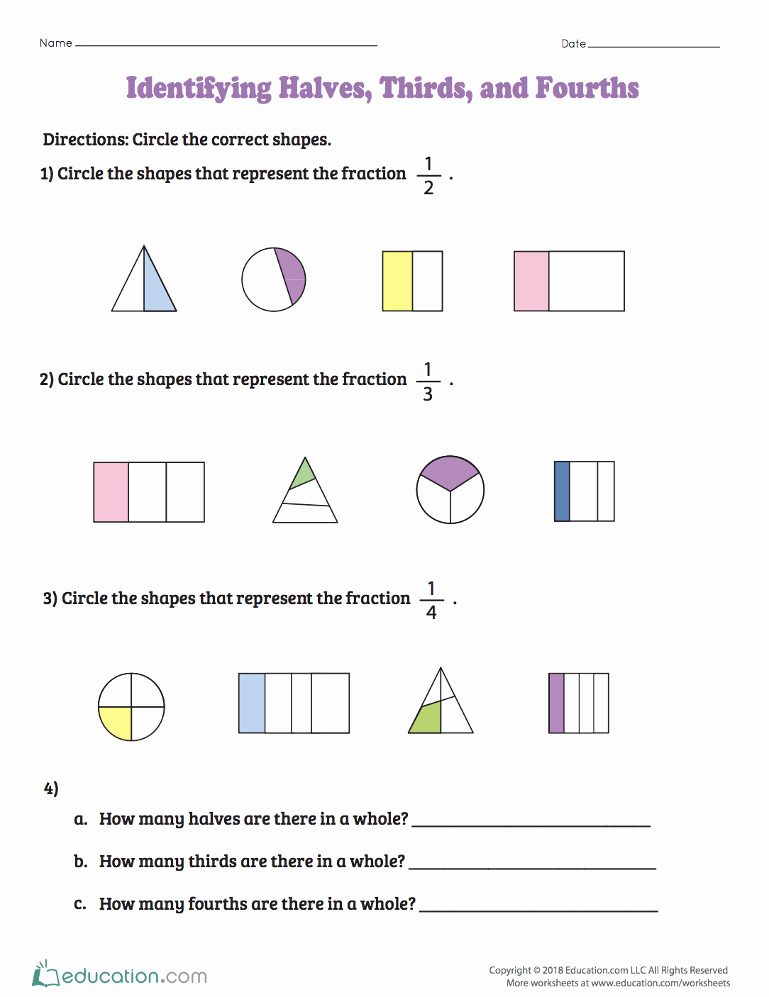 50 2nd Grade Fractions Worksheet