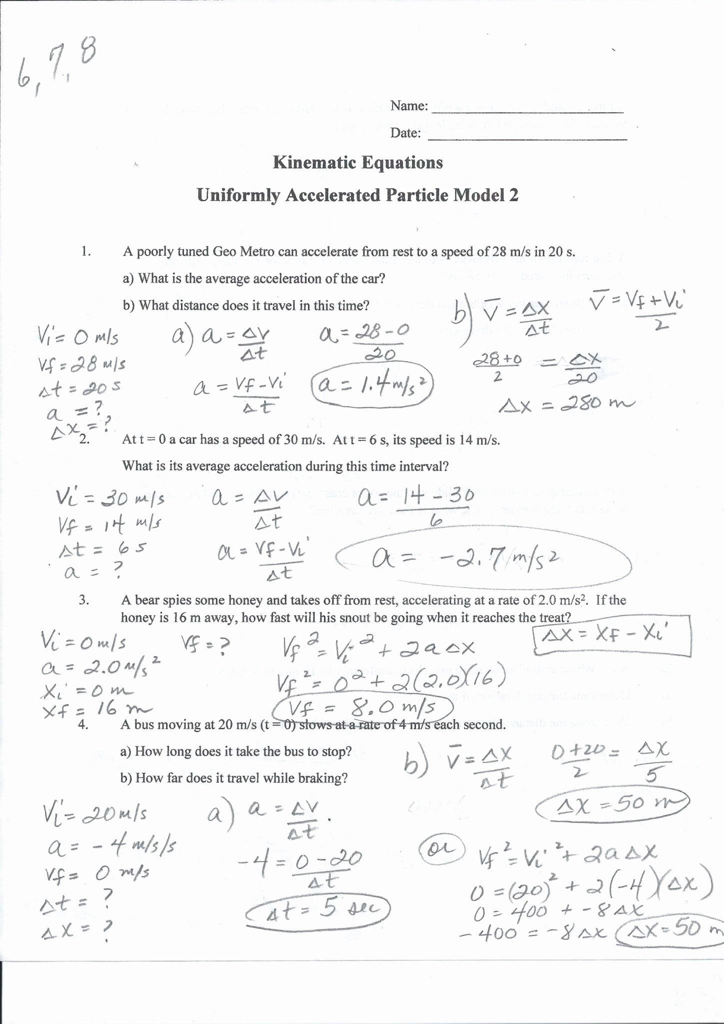 50 Acceleration Practice Problems Worksheet