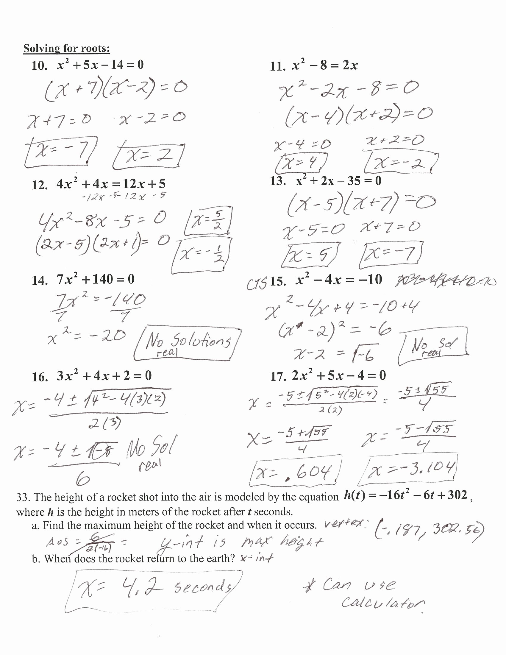50 Algebra 2 Review Worksheet