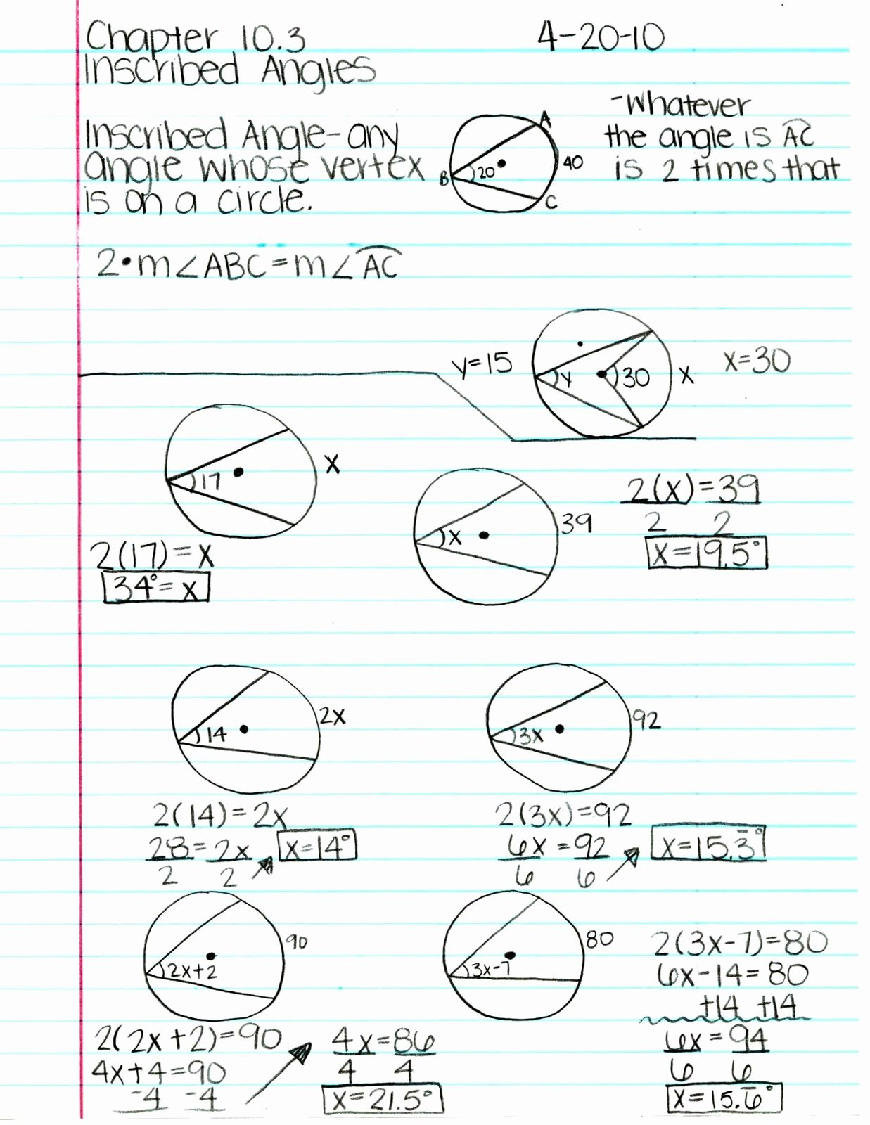 50 Angles In Circles Worksheet