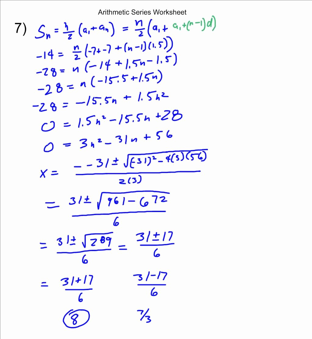 50 Arithmetic Sequences And Series Worksheet