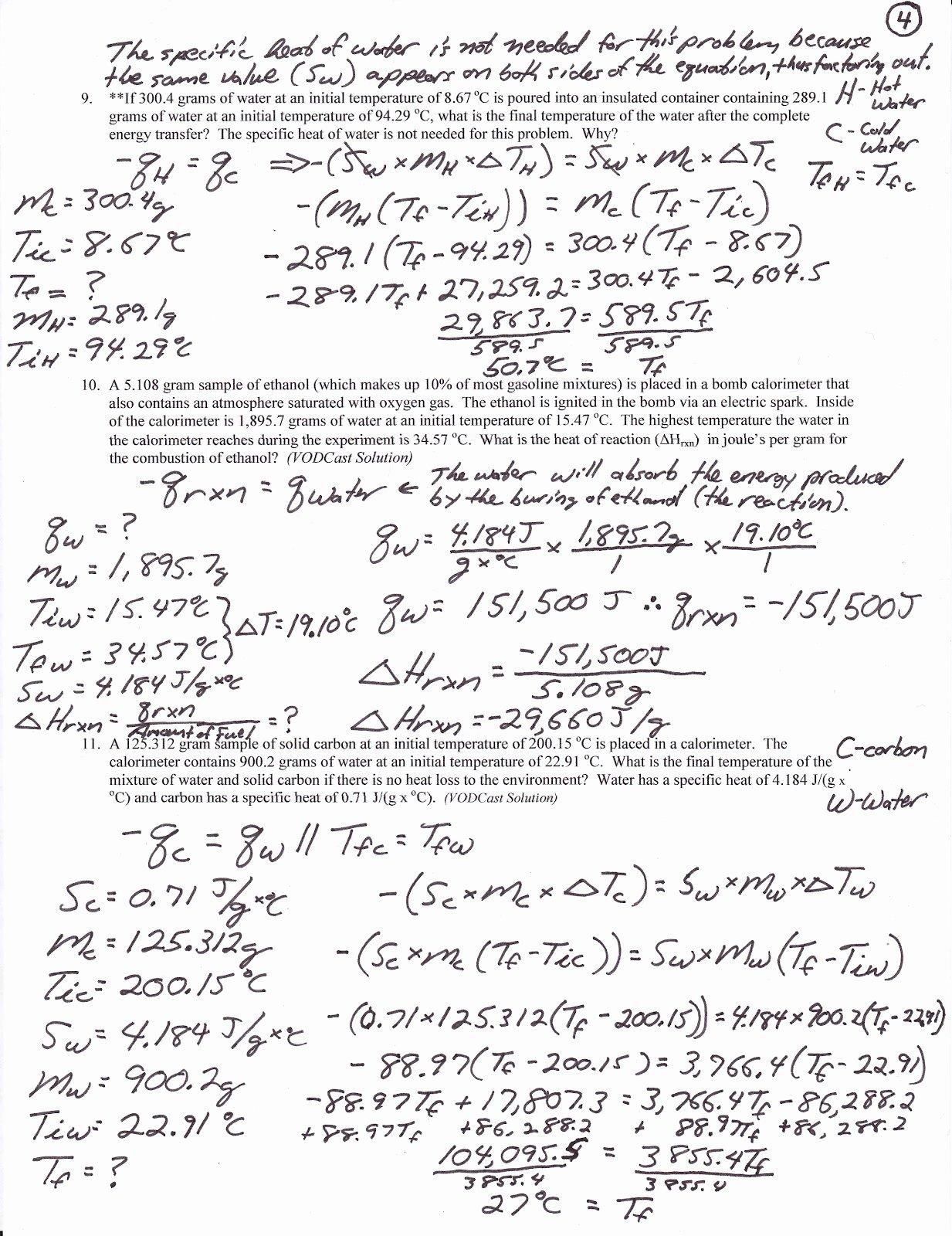 50 Calorimetry Worksheet Answer Key