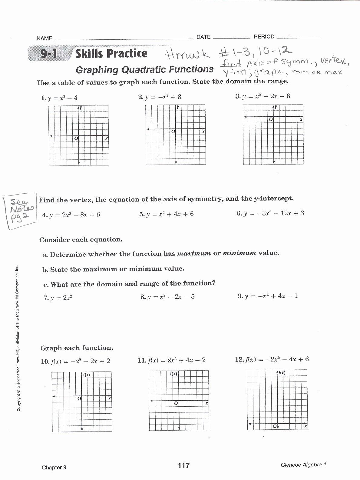 50 Characteristics Of Quadratic Functions Worksheet