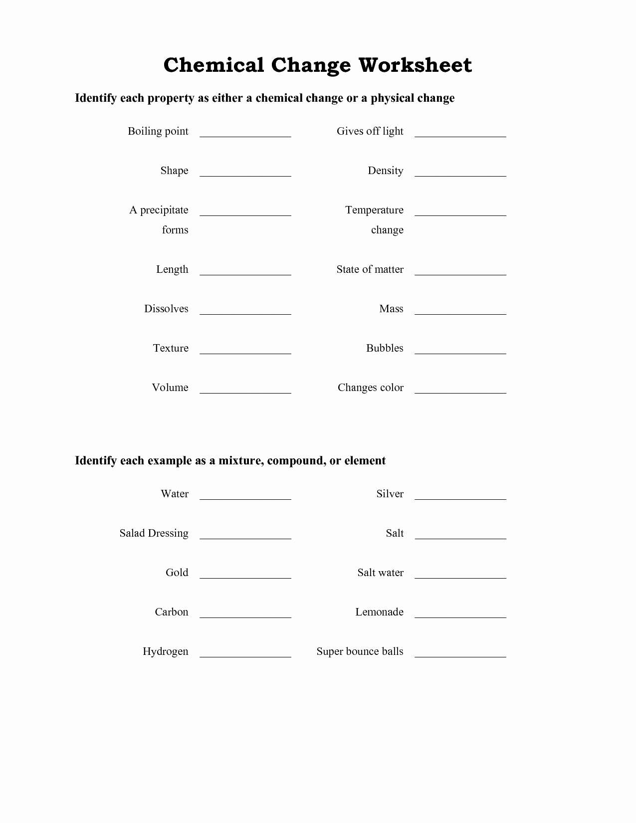50 Chemical And Physical Change Worksheet