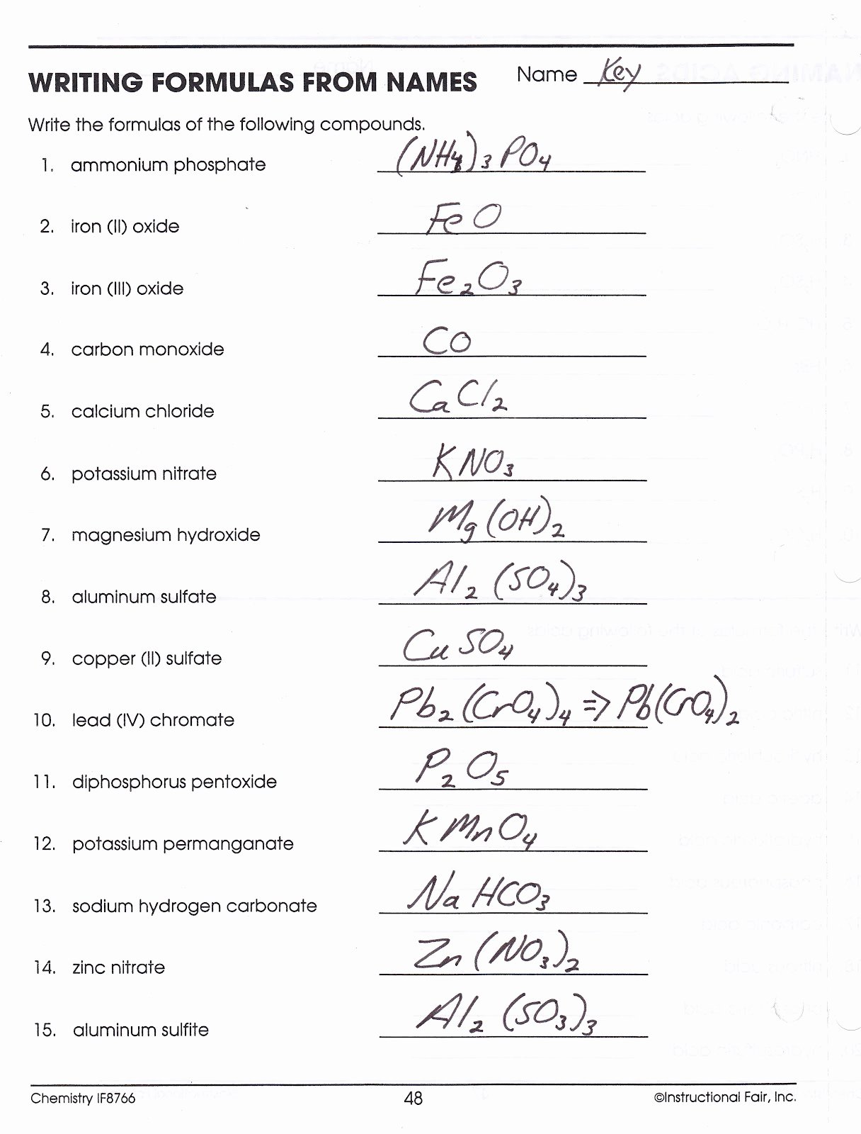 50 Chemical Formula Worksheet Answers