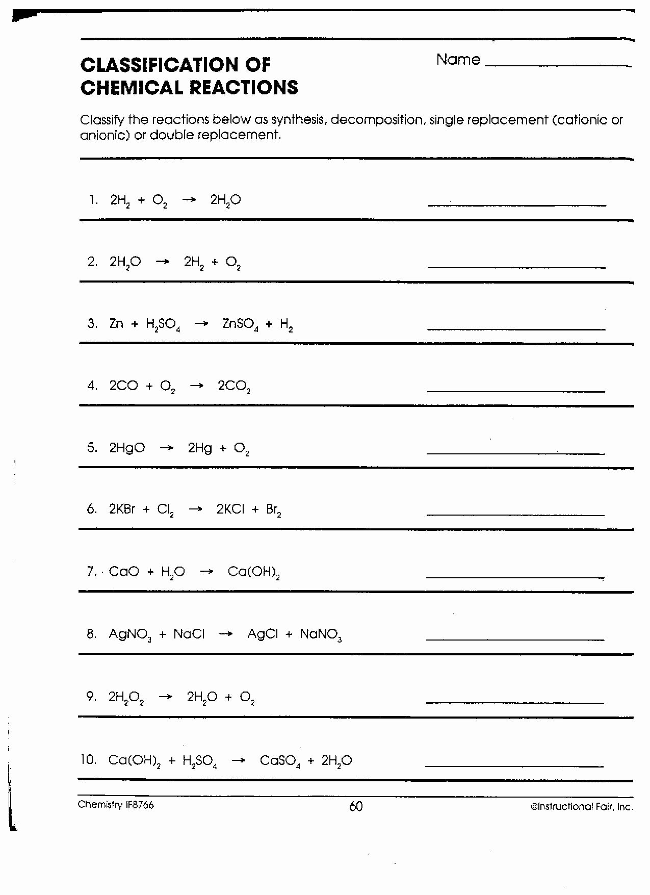 50 Chemical Reactions Types Worksheet