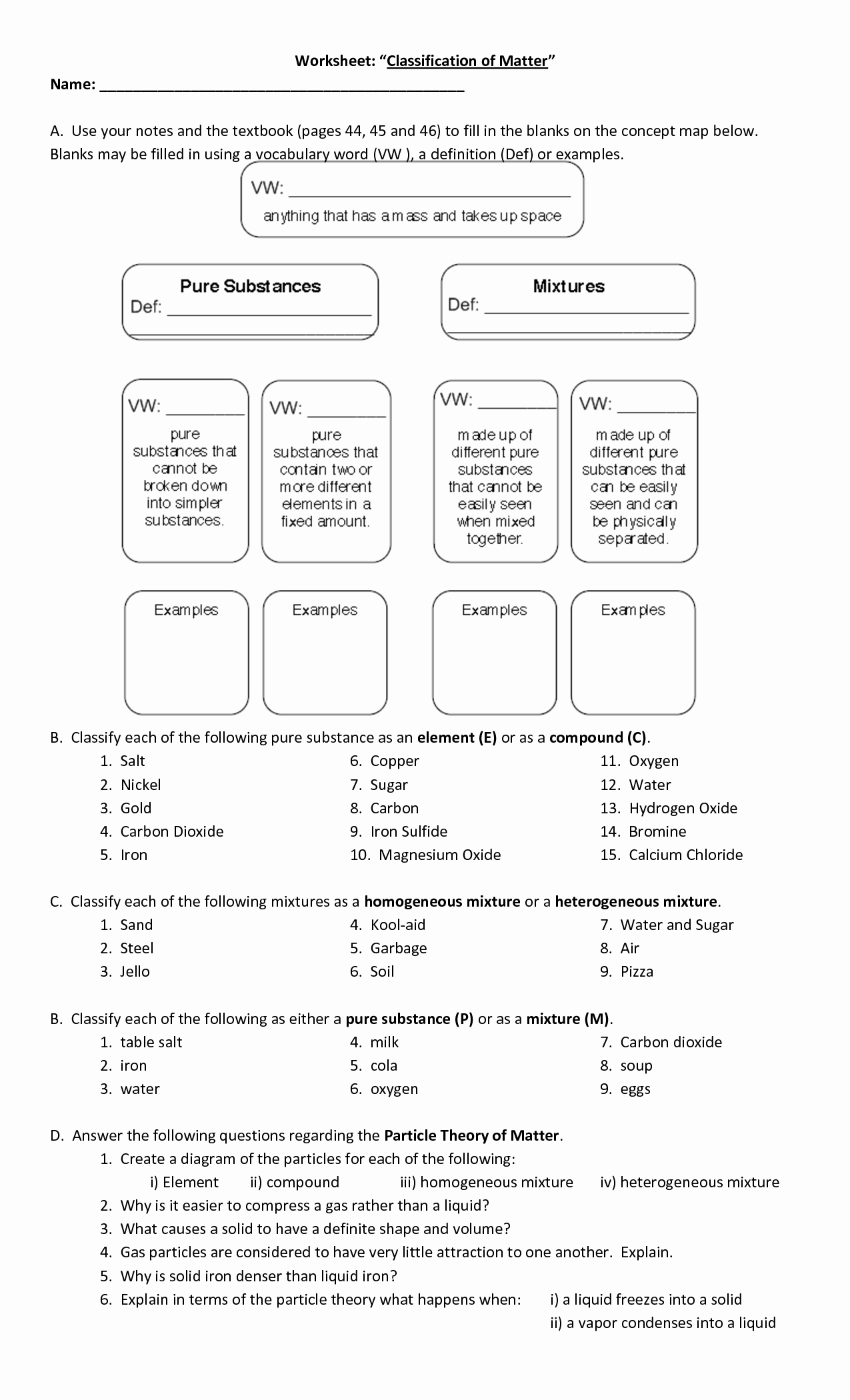 50 Classifying Matter Worksheet Answers