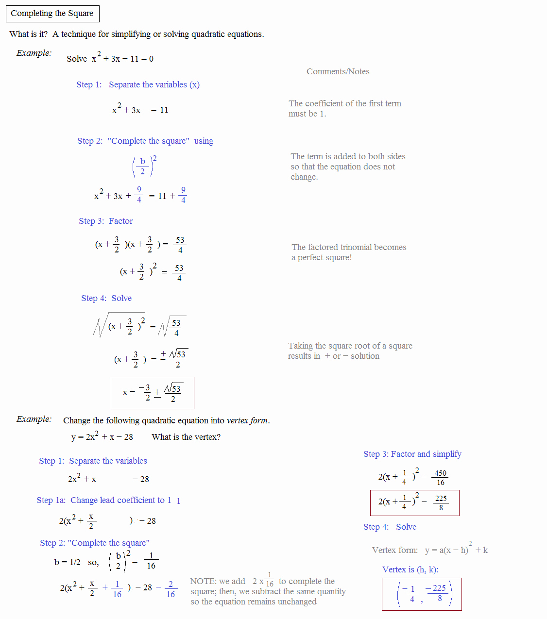 44 Complete The Square Worksheet