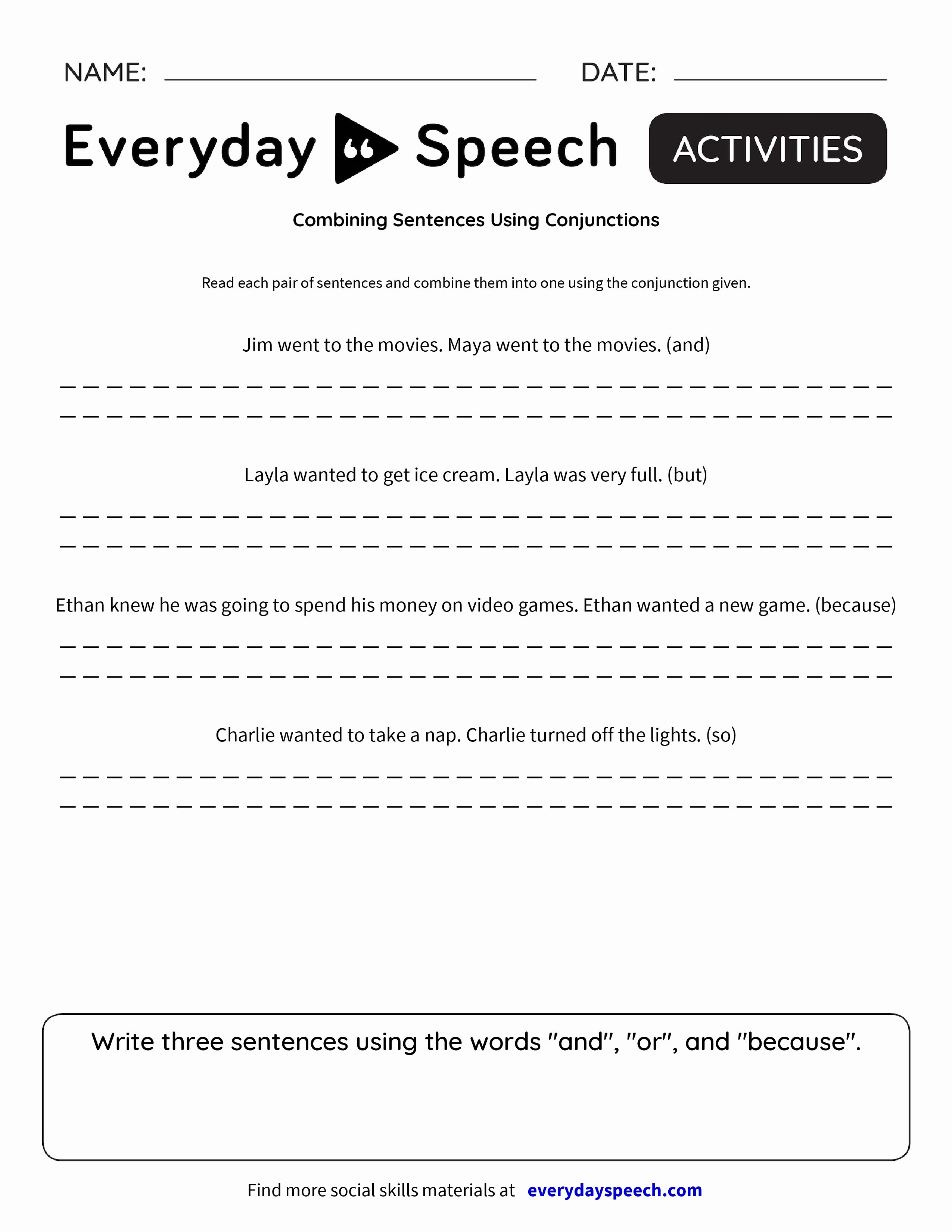 50 Compound Sentences Worksheet