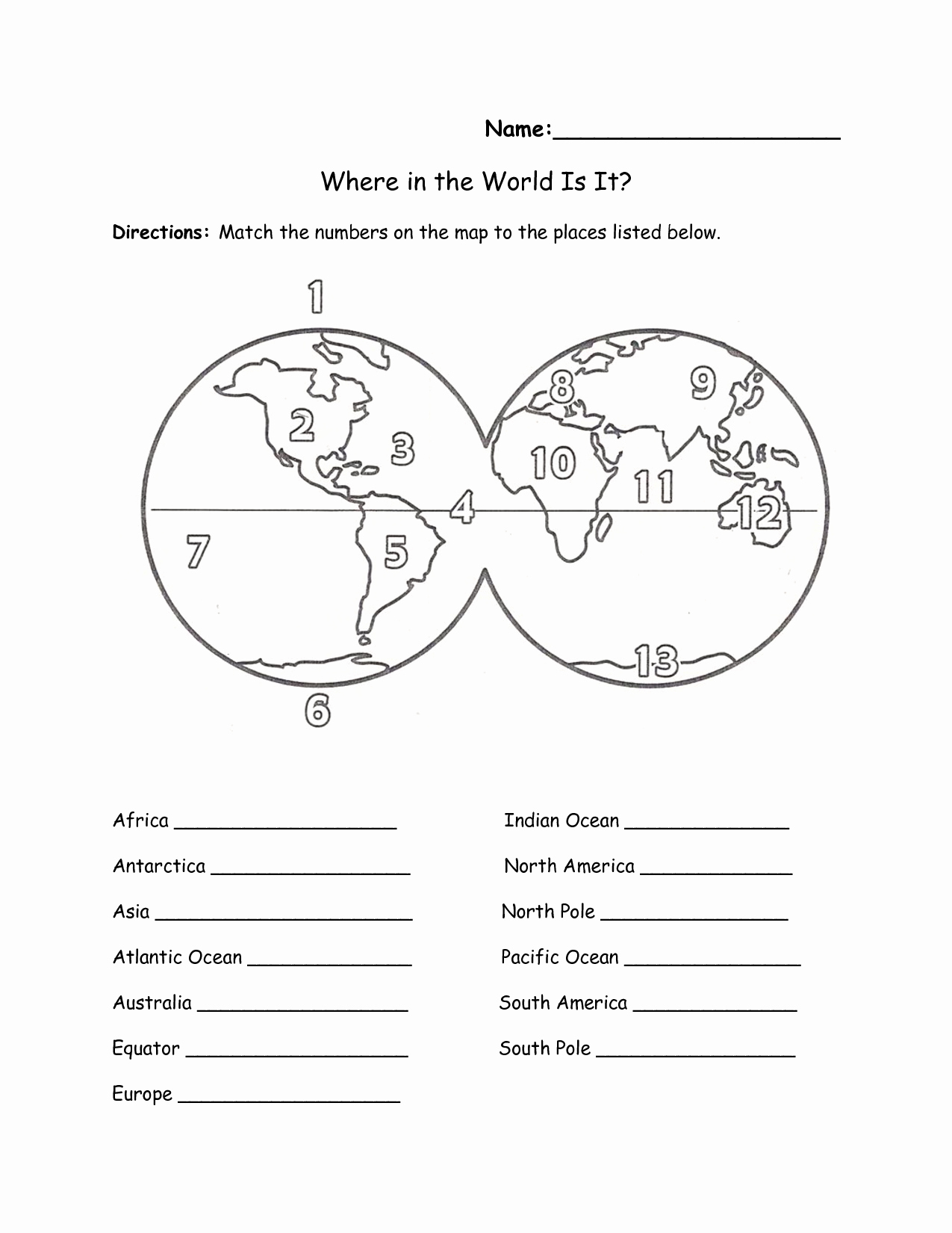 50 Continents And Oceans Worksheet